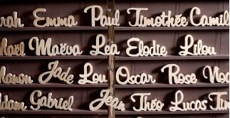Stand des prénoms en bois
